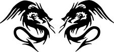 DOUBLE DRAGONS x 2 Mirrored Vinyl Decals 150mm