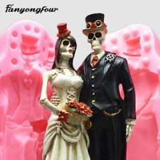 3D Skull Groom Bride Silicone Mold Wedding Cake Mold Resin Plaster Chocolate