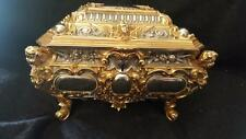 ANTIQUE ERHARD AND SOHNE ORNATE SILVERPLATE GOLD GILT JEWELRY CASKET BOX German