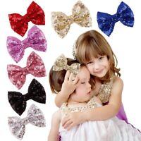 Lovely Girl Sequin Bowknot Bow Hair Clip Hair Pins Barrettes Accessories Cute