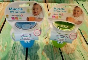 2 Pack of Munchkin 7 Oz Miracle Trainer Cup Green & Blue BPA Free Kids Sippy Mug