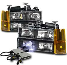 94-98 GMC C/K 1500 SUBURBAN SIERRA HEADLIGHTS LAMP W/BUMPER+CORNER+10K HID BLACK