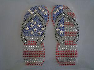 Flip flops Rhinestone iron on Bling Transfer DIY Hot fix  Applique Sandal USA