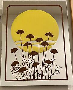 "Retro Mid Century Modern POP ART MIRROR Yellow SUN & Brown Wildflowers 12""X16"""