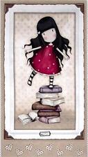 Simply Gorjuss Santoro Girl on Books 24x44 Large Cotton Fabric Panel