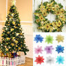 10x Glitter Artificial Poinsettia Flowers Christmas Tree Hanging Ornaments Decor