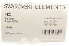 Sealed Package 360 Swarovski Amethyst Color UF 6X4MM Oval Rhinestones #4120