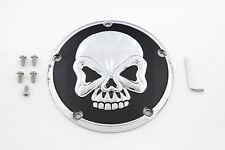 Skull Design 5 Hole Derby Cover Chrome For Harley-Davidson