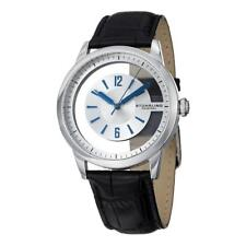 Stuhrling 946 01 Winchester Quartz Transparent Dial Black Leather Mens Watch