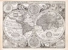 Old Vintage Antique decorative World map Speed ca. 1676 paper or canvas