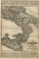Italy Kingdom Sicily Italia Sicilia map Mediterranean 1860 Harper's Weekly map