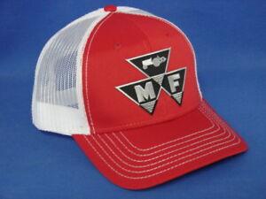 Massey Ferguson Tractor Hat - Red White Mesh - Tri Logo - Snapback