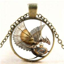 Vintage Steampunk Dragon Photo Cabochon Glass Bronze Pendant Necklace Jewelry