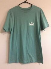 VANS Oil blue T-shirt with White front and back logo print Sz L Mens NWTS