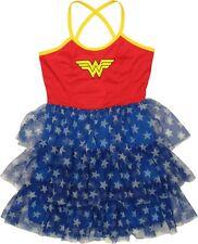 DC Comics Wonder Woman Mini Skirt Dress Tiered Cross Back Cami Junior Size L NWT