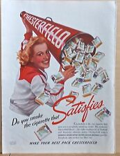 1940 magazine ad for Chesterfield Cigarettes - Megaphone of cigs, Cheerleader