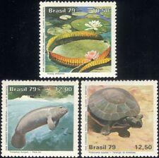 Brazil 1979 UPU/Manatee/Tortoise/Lily/Plants/Animals/Nature/Wildlife 3v set b203