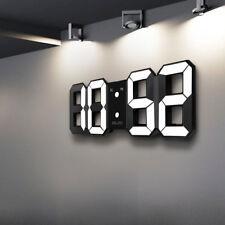 Digoo Moderne 3 Helligkeit LED 3D Digital Wanduhr Wall Clock Snooze Uhr weiß USB