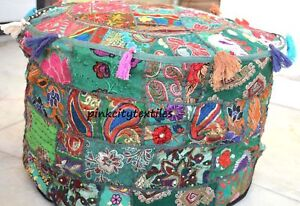 Ottoman Cover Bohemian Ottoman Vintage Patchwork Footstool Small Pouffe Throw US