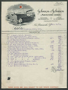New Brunswick NJ 1892 JOHNSON & JOHNSON MANUFACTURING CHEMISTS Pictorial Invoice