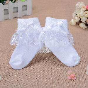 Girls White Lace Flower Frilly Christening Socks 1-8 Years
