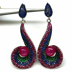 NATURAL 8 mm PINK RUBY & FANCY COLOR CZ DROP EARRINGS 925 STERLING SILVER