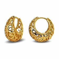 Small Stylish 18ct Gold Filled Filigree Creole Hoop Earrings Women's