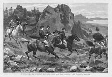 GIBRALTAR the Calpe Hunt with Lord Napier - Antique Print 1893