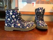 Dr Doc Martens Womens Sz 3 Canvas Flower Air Wair Boots Youth Purple Floral RARE