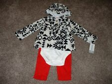 Carters Baby Girl 12 Months 12M Fleece 3-Piece Outfit Set Black Red Clothes NWT