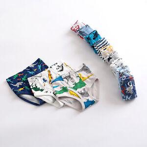 3/6-Pack Little Boys Cotton Briefs Dinosaur Truck Toddler Kid Underwear Set 2-10