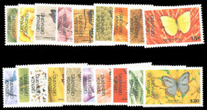 GRENADA GRENADINES 1986 BUTTERFLIES PERF 12½x12 SET MNH #662a//681a without $2.5