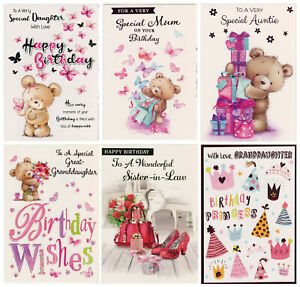 FEMALE RELATIONS BIRTHDAY CARD VARIOUS DESIGNS  GREAT VALUE!