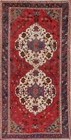 Vintage Geometric One-of-a-kind Bakhtiari Area Rug Wool Hand-Knotted 5x10 Carpet