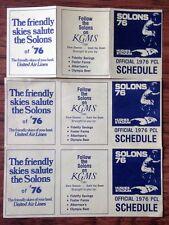 SACRAMENTO SOLONS 1976 OFFICIAL TEAM SCHEDULE PACIFIC COAST LEAGUE