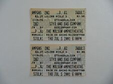 Styx and Bad Company at the Molson Amphitheatre 05/07/2001 Ticket Collectible
