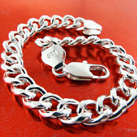 BRACELET BANGLE REAL 925 STERLING SILVER SF SOLID MEN'S HEAVY CURB LINK FS3A737
