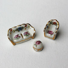 Limoges Porcelain Miniature Doll Furniture Set of 3 Sofa Table Chair France