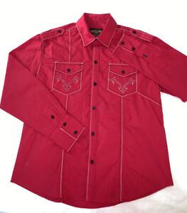 Men's Charro Shirt Camisa Charra El General Western Wear Red Long Sleeve 2XL