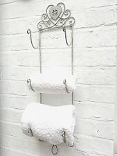 Shabby Chic 3 Towel Rail Holder Rack Grey Distressed Metal French Vintage Style