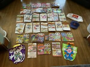 Large Lot Of 1990's McDonalds Happy Meal Boxes Bags Cassette Bib Hat Etc
