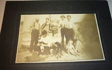 Rare Antique American Drinking Group On Shore! Boat! Dogs! Kids! Cabinet Photo!