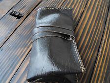 Leather Watch Roll Case Storage Organizer Box Dark Brown Pouch 2 slots