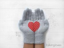Artist Handmade Gray Womans Kids GLOVES Red Polka Dot HEART Coeur Corizon