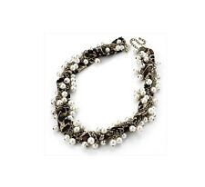 Ladies Fabric Animal Print Scarf Effect Pearl Necklace