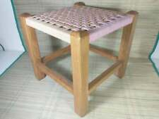 Vintage Wooden Foot Stool - Square - Rattan / Rush Top - Pink