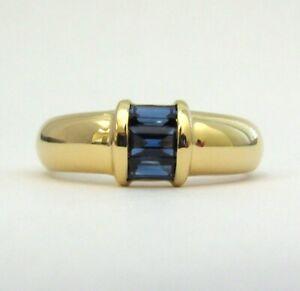 TIFFANY & Co. 18K Yellow Gold 3 Sapphire Ring 5
