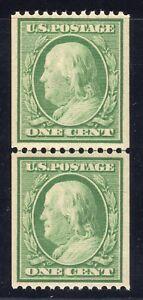 US STAMP #348   1c WASH/FRANK  COIL LP  FLAT,p12H,W191  XF  MINT  GRADED 90