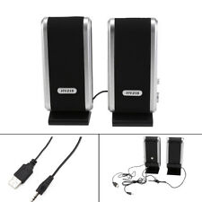 Portable USB Multimedia Stereo Speakers System For PC Laptop Computer 2W Black
