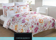 Cynthia Rowley 3 pc Cotton Duvet Cover Set Full Queen Floral Pink Orange - New